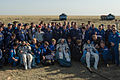 Soyuz TMA-11M crew shortly after landing (cropped).jpg