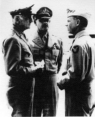 Bomber Mafia - Daylight precision-bombing advocates Carl A. Spaatz, Muir S. Fairchild and Donald M. Wilson at Maxwell Air Force Base in 1946