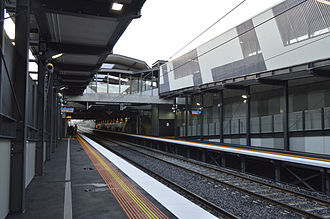 Springvale railway station - View from platform 1 looking towards Melbourne in May 2014.