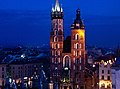 St. Mary's church in Krakow at night.jpg
