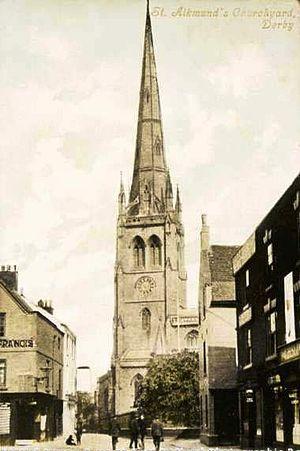 St Alkmund's Church, Derby - Image: St Alkmunds Church in 1906