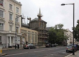 Grosvenor School of Modern Art - 33 Warwick Square, the former home of the Grosvenor School of Modern Art (scaffolded, centre)
