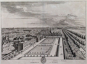 St James's Palace - St James's Palace, left, and The Mall, 1715.