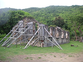 British Virgin Islands - The ruins of St. Phillip's Church, Tortola, one of the most important historical ruins in the territory.