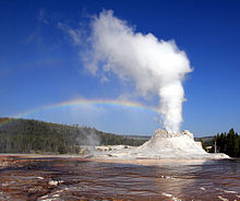 Geyer of water and steam erupting from an ashen cone.