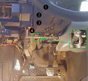 Steering column - 1 steering wheel 2 case 3 Steering column (hidden by the case - blue dashed line) 4 Universal joint
