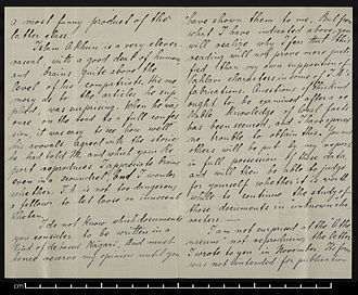 """Islam Akhun - Letter from Stein to Hoernle, describing Akhun as a """"very clever rascal"""""""
