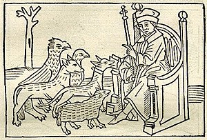 The Dog and the Sheep - A German woodcut of Aesop's fable showing the litigants before a judge, 1501