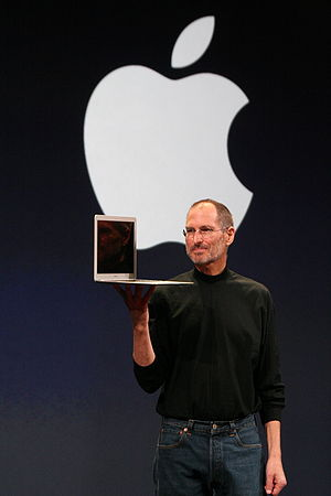 MacBook Air - Steve Jobs with a MacBook Air at the 2008 keynote.