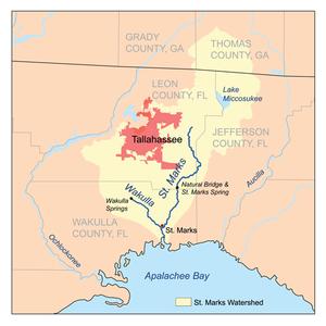 Wakulla River - Image: Stmarksrivermap