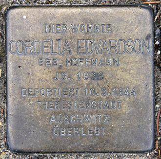 Cordelia Edvardson - A plaque at Edvardson's childhood home in Berlin, marking her deportation to Auschwitz.