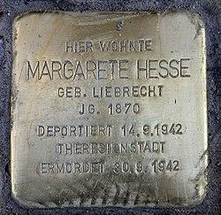 Photo of Margarete Hesse brass plaque