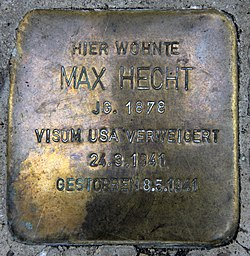 Photo of Max Hecht brass plaque