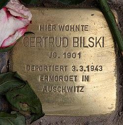 Photo of Gertrud Bilski brass plaque