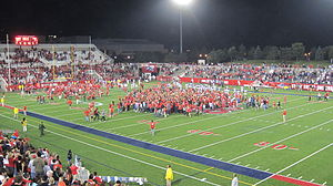 2012 Stony Brook Seawolves football team - Stony Brook fans rush the field after memorable comeback over the Colgate Raider for the seventh straight Homecoming victory
