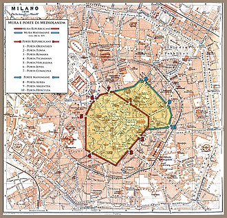 Walls of Milan - Map of the Roman walls of Milan. The Republican walls are shown in red, the Imperial (Maximian) walls in blue