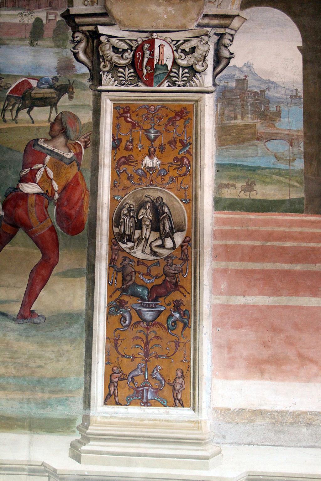 Il Sodoma, Le storie di San Benedetto, dettagli della prima scena - Come Benedetto lascia la casa paterna e recasi a studio in Roma