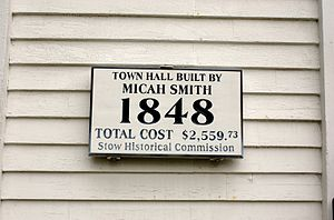 Stow, Massachusetts - Image: Stow MA Town Hall plaque
