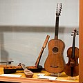 Stradivarius Guitar, violin, mandolin and case, angled, National Music Museum, Vermillion.jpg