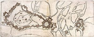 Battle of Kehl (1796) - Drawing of Vauban's plan for Strasbourg/Kehl fortifications, circa 1720. Note the multiple channels of the Rhine and its tributaries, and the double star points of the fortifications.