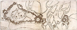 Siege of Kehl (1796–97) - Drawing of Vauban's plan for Strasbourg/Kehl fortifications, circa 1720. Note the multiple channels of the Rhine and its tributaries, and the double star points of the fortifications.  The island with the small fortress is Ehrlen.