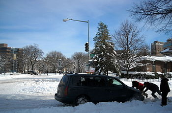 English: A Nissan Quest minivan stuck in the s...