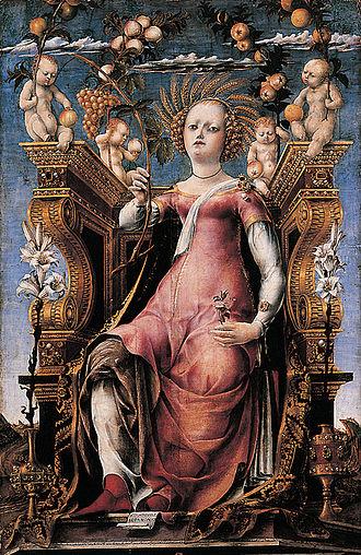 Studiolo of the Palazzo Belfiore - Image: Studiolo di belfiore, thalia di michele pannonio, budapest 2