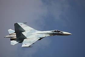 Su-27SM3 in flight, Celebration of the 100th anniversary of Russian Air Force.jpg