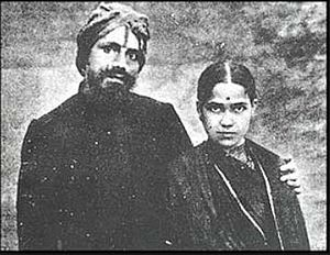 Subramania Bharati - Photo of Subramanya Bharathi with wife Chellamma.