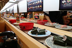 Customer S View At A Conveyor Belt Sushi Restaurant