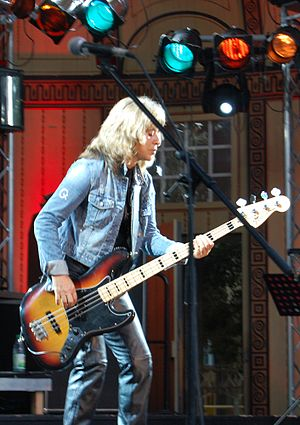 Cock rock - Suzi Quatro, the first female bass player to become a major rock star, onstage at Bad Kissingen (Germany) in 2011