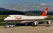 Boeing 747-300 der ehemaligen Swissair am Flughafen Zürich