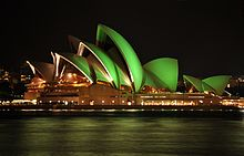 Sydney Opera House lit up green for St Patricks Day