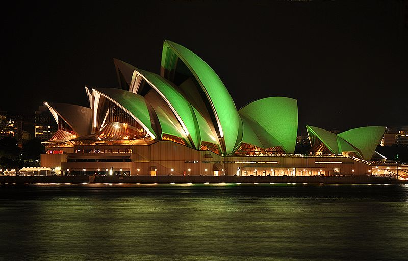 Sydney's Opera House illuminated green for St Patrick's Day. This year it's the Sydney Town Hall's turn. Image Mike Young, Wikimedia Commons