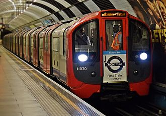 Night Tube - The first Victoria line Night Tube service pulling into Pimlico Underground station. London Mayor Sadiq Khan and Managing Director of London Underground Mike Brown were on board.