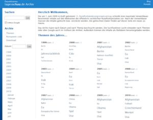 Tagesschau.de Archive at Depub.org, screenshot...