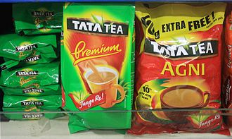 Tata Global Beverages - Packages of Tata Tea in a store shelf.