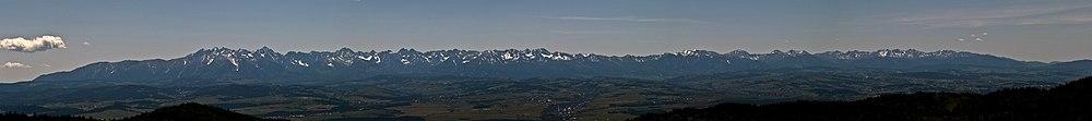 Panorama of Tatra Mountains from Hala Długa in Gorce National Park