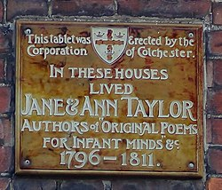 Photo of Jane Taylor and Ann Taylor blue plaque