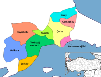 Marmara Ereğlisi - Location of Marmara Ereğli