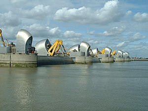 River engineering - Flood control structures at the Thames Barrier in London.