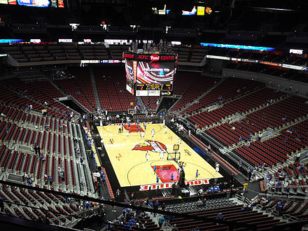 The Cardinals' home floor is Denny Crum Court at the KFC Yum! Center. The-Yum-Center.jpg