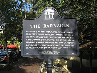 The Barnacle Historic State Park - Historic marker at front entrance on Main Highway