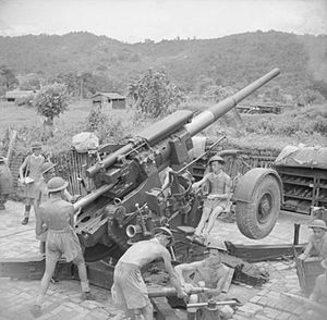 Leeds Rifles - A 4.5-inch gun of 66th HAA Regiment at one of the main supply airstrips on the Ledo road, 24 July 1944.