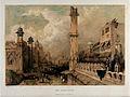 The Chandnee Chouk or market place, Delhi. Coloured lithogra Wellcome V0050512.jpg