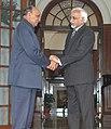 The Chief Minister of Himachal Pradesh, Shri Prem Kumar Dhumal meeting with the Vice President, Mohammad Hamid Ansari, in New Delhi on February 6, 2008.jpg