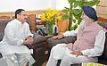 The Chief Minister of Punjab, Shri Parkash Singh Badal meeting the Union Minister for Health & Family Welfare, Shri J.P. Nadda, in New Delhi on August 28, 2015 (1).jpg