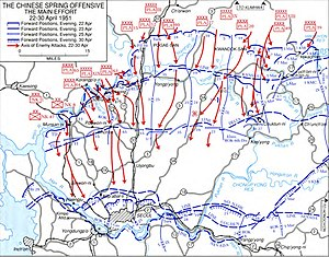 Diagram of the Western and Central fronts during the Chinese Spring Offensive, details the United Nations and Communist positions as described in the text