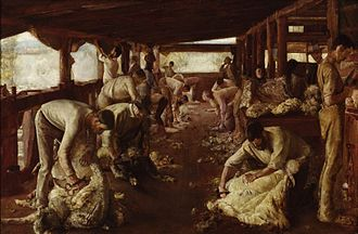 Frederick Wolseley - Shearing with shears 1894