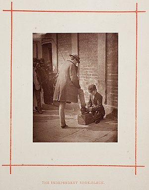 Shoeshiner - The Independent Shoe-Black by John Thomson, 1877.